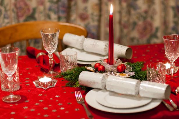 mooie kersttafel servet tafelkleed